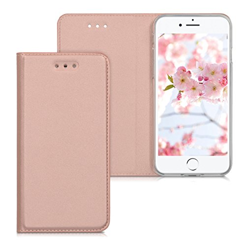 kwmobile Étui rabattable en similicuir pour Apple iPhone 7 / 8 - Full Cover Case rabatable en or rose .doré-rose