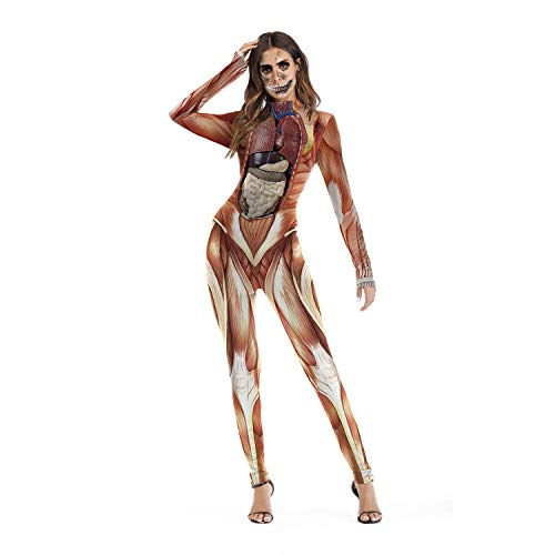 Frauen Halloween Siam Kostüm - 3D Muscle Prints Long Slim Fit,Flesh,S/M