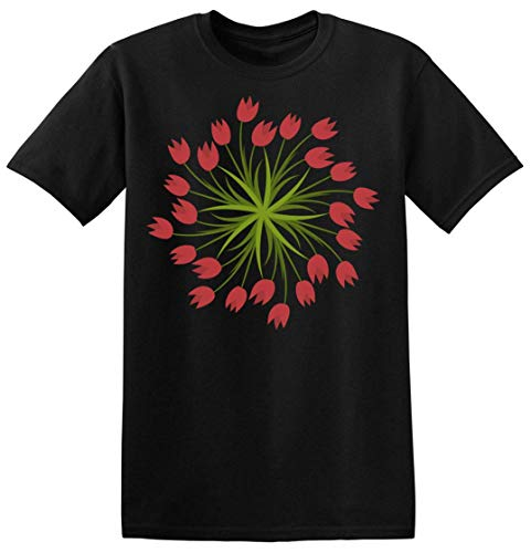 Finest Prints Mandala Style Circle of Red Tulips Camiseta para Hombre Large