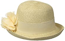 3fbf6ef9ffed57 Nine West Women's Packable Cloche with Flower Hat, Sand Heather, One Size