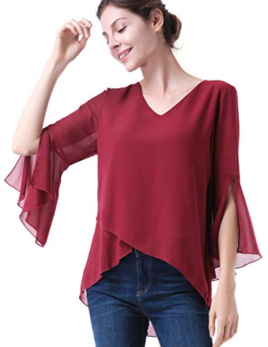 Damen V-Ausschnitt Shirt Chiffon 3/6 Arm Rüschen Kittel Bluse Cocktail -