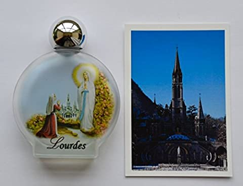 Lourdes Bouteille d'eau avec de l'eau Lourdes Sainte + Lourdes Carte de Prière.