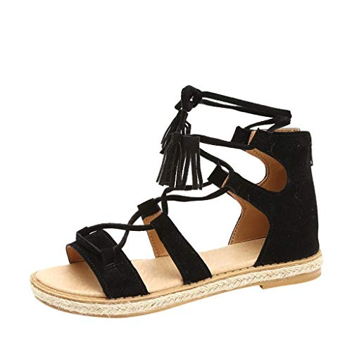 HILOTU Gladiator Flache Sandalen Für Frauen Casual Open Toe Criss-Cross Knöchelriemen Bohemia Ankle High Sandalen (Color : Schwarz, Size : 37 EU) Criss Cross Wedge