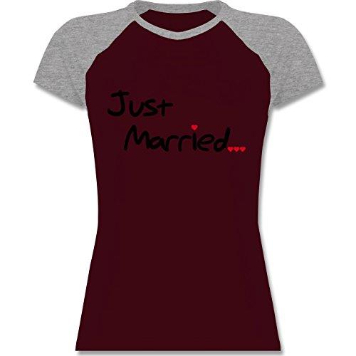 Shirtracer JGA Junggesellinnenabschied - Just Married - Zweifarbiges Baseballshirt/Raglan T-Shirt für Damen Burgundrot/Grau meliert