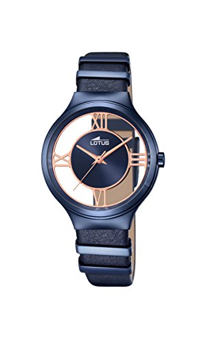 Lotus Women's Quartz Watch with Blue Dial Analogue Display and Blue Leather Strap 18339/1