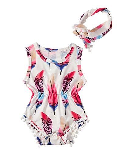 Chicolife Girls Clothing Sets, Newborn Baby Girl Cotton Casual Bowknot Clothes Bodysuit Romper Jumpsuit Outfit Set