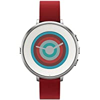 Pebble 14 mm Time Round Smartwatch (Silver/Red)