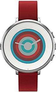 Pebble Time Round Smartwatch in cassa d'argento, cinturino in pelle, 20 mm, Argento/R
