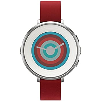"Pebble Time Round - Smartwatch (14 mm, 1.25"", Bluetooth, Li-ion), color plateado y rojo"