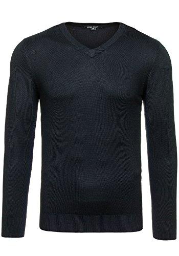 BOLF Herren Pullover Sweater Sweatshirt Strickpullover Pulli Slim Mix 5E5 Motiv Schwarz_6002