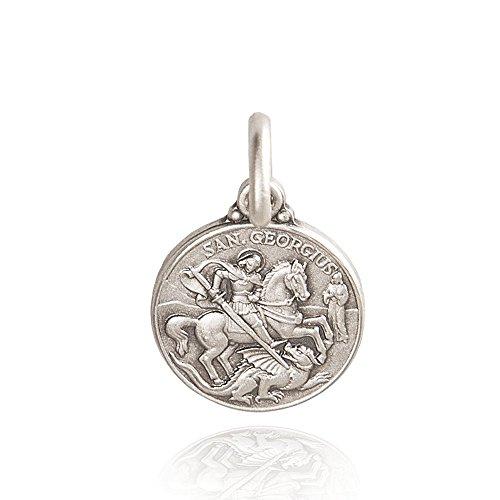 Heiliger Georg. Anhänger, Silber Medallion /Medaillon 925 1.9 gramm. 14mm, Handgefertigte Silbermedaillen