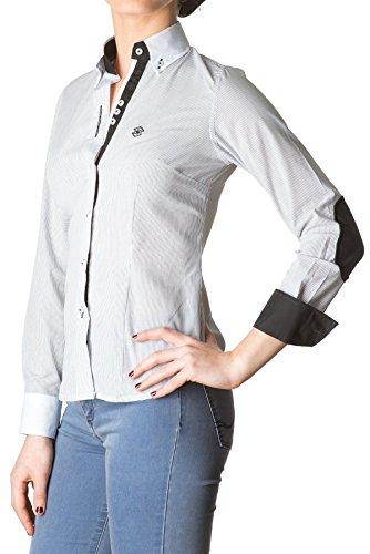 Di Prego - Chemise manches longues avec coudières et boutons carré. Poignets réversibles imprimés avec des boutons pour ajuster la largeur - Femme Noir