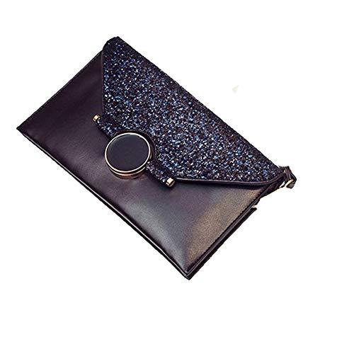 AMPQJ Damen Abendtasche Clutch Abendtasche Prom Abendtasche Kleine Clutch Bag Umhängetasche Umhängetaschen mit Armband und Kettenriemen-Handtasche Prom Taschen (Farbe : Navy blau) -