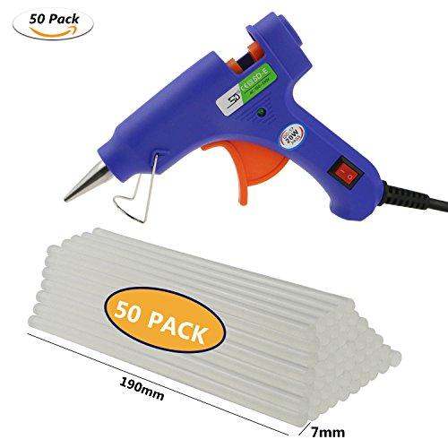 Minipistola de silicona de WisFox; eléctrica, con 50 barritas de silicona, azul, alta temperatura, gatillo flexible, para proyectos de bricolaje y manualidades