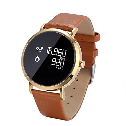 HDWY Smart Watch Leder Fitness Pulsmesser Tracker Smart Armband Aktivität Bluetooth Schrittzähler mit Schlaf Monitor für Erwachsene Kinder (Farbe : Gold) - Zähler-monitor Kalorien