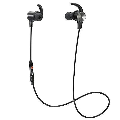 Magnetiche, TaoTronics Auricolari Sportivi Wireless Stereo (4.1, IPX5, aptX, A2DP, 6 ore di Riproduzione, Microfono Incorporato, CVC 6.0 ) per iPhone, Galaxy, Tablet, MP3, ecc. - Nero
