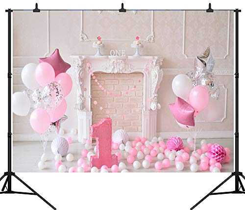 Aliyz PGT119C Fotohintergrund, zum 1. Geburtstag, Luftballons, Kuchen, nahtlos, Vinyl, Fotohintergrund