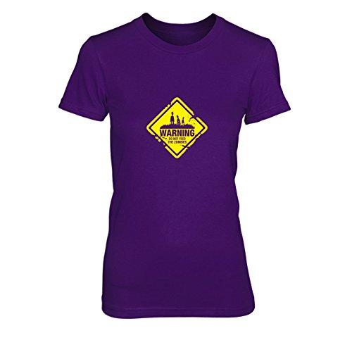 Do not Feed The Zombies - Damen T-Shirt, Größe: XL, Farbe: lila (Dead-halloween-kostüm The Dawn Of)