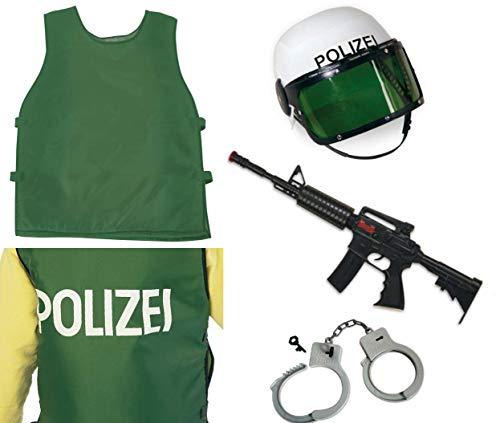 KarnevalsTeufel Kostüm - Set Polizist für Kinder | 4-TLG. Polizei-Weste, Polizei-Helm, Spielzeug-Maschinengewehr und Handschellen | Agent, Ermittler, Security, FBI, SWAT (128)