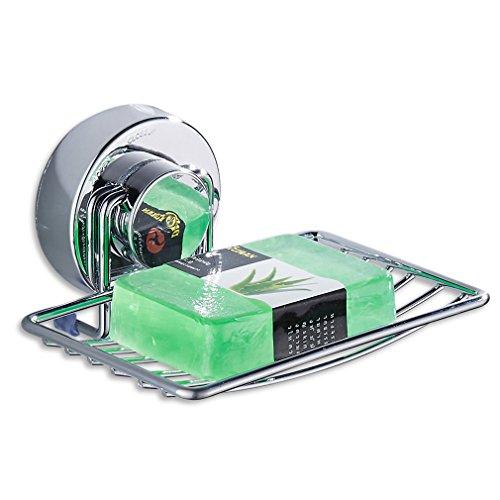 OOWWDC Edelstahl Starke Saugnapf Bad Seifenhalter Dusche Seifenschale Halter Duschwanne Badezimmer Zubeh?r Chrome 2