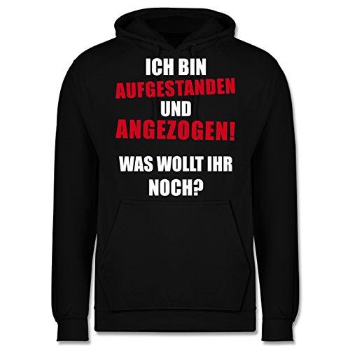 Sprüche - Ich bin aufgestanden und angezogen - Männer Premium Kapuzenpullover / Hoodie Schwarz