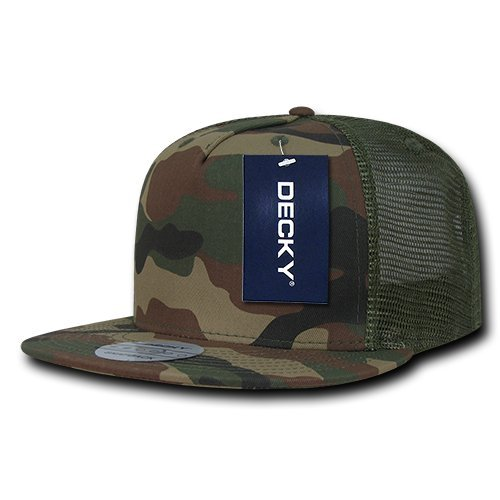 Decky 5 Panel Flat Bill Trucker Baseball Cap