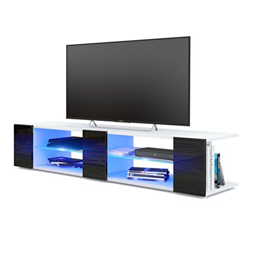 Meuble TV Armoire basse Movie V2, Corps en Blanc mat / Façades en Noir haute brillance avec l'éclairage LED en Bleu