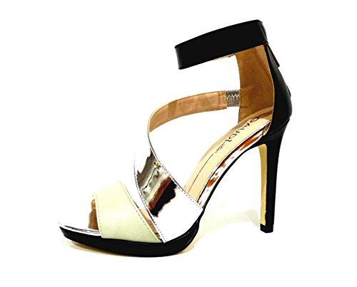 Gaudì 64586 softy Ice sandali eleganti con tacco alto beige e neri con fascia argento n° 40