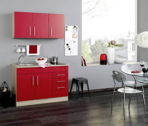 lifestyle4living Küchenblock mit roten Hochglanz-Fronten, Single-Küche mit Spühlbecken und Kochplatte, Küchenzeile mit Korpus und Arbeitsplatte in Eiche-Sonoma, 120 cm -