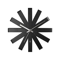 Idea Regalo - Umbra Ribbon Orologio da Parete Nero, Metallo, 30.48x30.48x5.21 cm, 3 unità