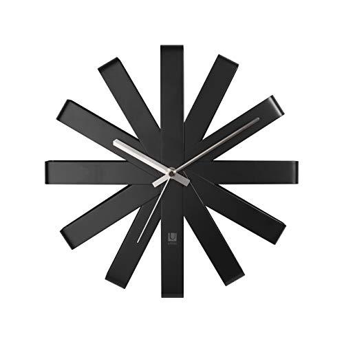 Umbra ribbon orologio da parete, metallo, nero
