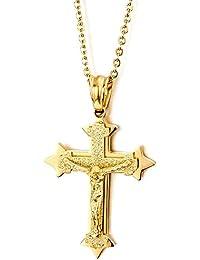 Pequeño Tres Capas Oro Color Jesucristo Crucifijo Cruz, Collar Colgante de Hombre Mujer, Cruce, Acero Inoxidable