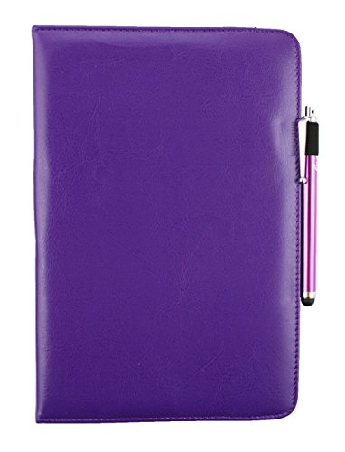 Emartbuy® ANOC 7 Zoll Quad Core Android Tablet PC Universal (7-8 Zoll) Lila PU Leder 360GradRotierendeStandFolioGeldbörseTascheHülle + Lila Eingabestift