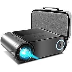 Vidéoprojecteur, ELEPHAS Videoprojecteur 4200 Lumens Mini Projecteur Vidéo Soutien 1080P Rétroprojecteur Full HD LED Portable Multimédia Home Cinéma Compatible VGA HDMI AV USB