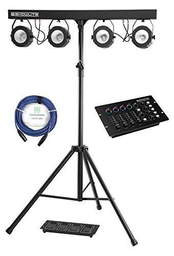 Showlite LB-430 Komplettanlagen Set mit DMX-Operator (Mobile COB Licht-Komplettanlage mit 4 Strahler mit je 30 Watt & COB Technologie, LED DMX-Controller & 10 m DMX-Kabel)