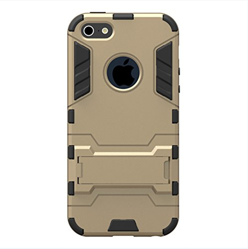 Iphone 5 5S SE Hülle Etui Case,Nnopbeclik® Hybrid 2in1 Ultra Slim TPU+PC Schutzhülle Cover Case Silikon Muster Handytasche Backcover Drop Resistance Stoßdämpfend Standfunktion Handy Hülle Rüstung Armo Golden