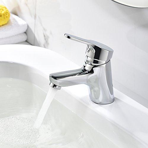 HOMELODY Design-Waschtischarmatur Wasserhahn Mischbatterie Bad Chrom Waschbeckenarmatur Badarmatur Einhebelmischer für Badezimmer
