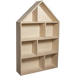 """Rayher 6261100 étagère murale en bois forme maison 30 x 50 x 8 cm €"""" etagere de 8 compartiments à décorer €"""" etagere en bois à suspendre idéal pour créer des rangements personnalisés"""