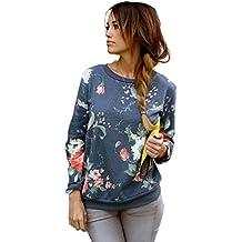 YouPue Winter Damen Blumen Drucken Sweatshirt Pullover Langarm Blusen