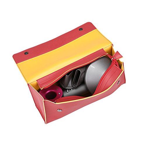 BUBM Haartrockner Aufbewahrungskoffer, Pu-leder Portable Reisetasche für Dyson Supersonic Haartrockner (Rot) -