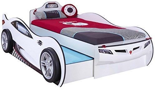 Cilek COUPE Ausziehbett Rennfahrerbett Autobett Kinderbett Bett Weiß (ohne Matratze)