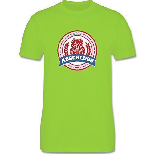 Abi & Abschluss - ABSCHLUSS 2017 Badge mit Eule - Herren Premium T-Shirt  Hellgrün