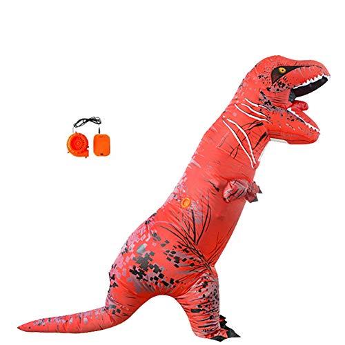 Lvbeis Erwachsene Aufblasbare Dinosaurier Kostüm T-Rex Costume for Halloween Horror Party Outfit Für Größe 150 cm-2 - Rot T Rex Kostüm