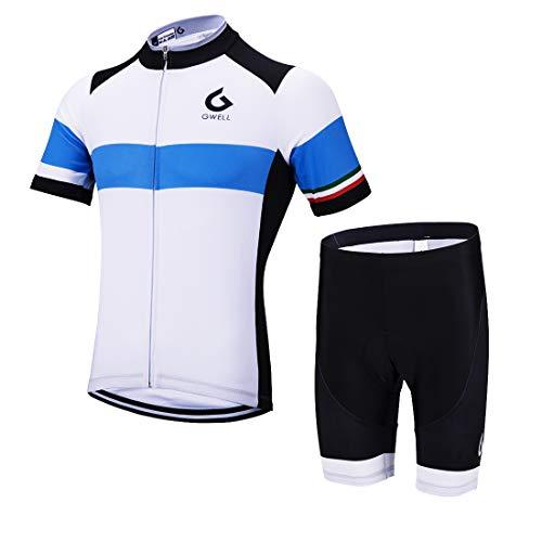 GWELL Herren Radtrikot Set Fahrrad Trikot Kurzarm + Radhose mit Sitzpolster Radsport-Anzüge Blau-6 3XL