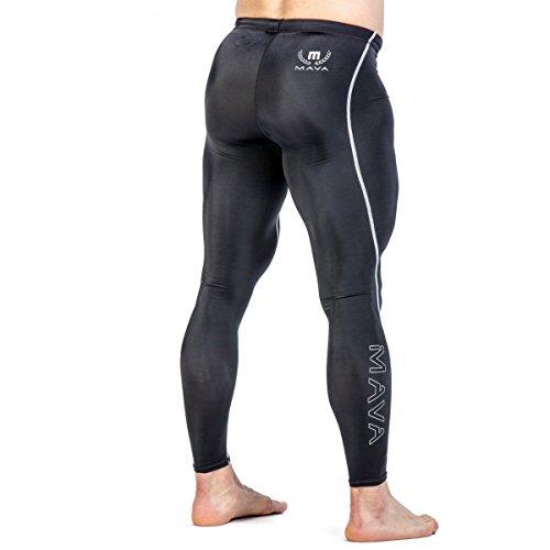 Mava Lange Kompressions-Leggings für Männer - Base-Layer-Strumpfhosen für Workouts, Laufen, Radfahren, Sport, Training, Gewichtheben - Langes Capri für jedes Wetter, schwarz / silber (Lange Athleta Ärmel)