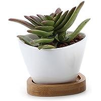 Gruppo vaso in ceramica e vassoio sottovasi in bambù, Ceramica, No.3, shape No.3