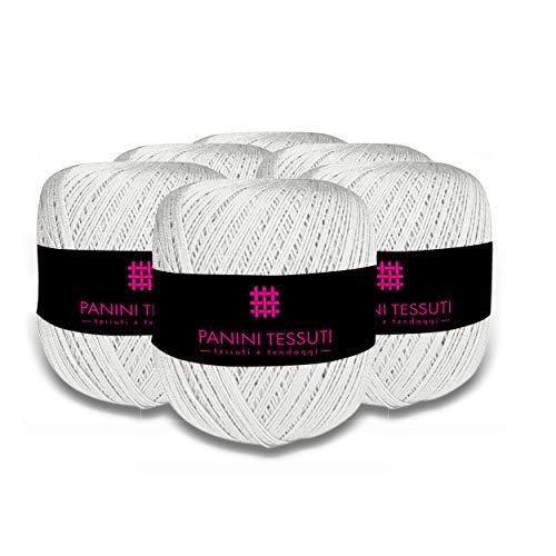 Panini tessuti confezione 6 pezzi gomitoli filo da ricamo per uncinetto titolo 5 100% cotone 100 gr