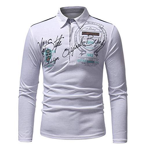 Xmiral Herren Sweatshirt Casual Slim Print Langarm Umlegekragen Plain Polo Shirt (XL,Weiß)