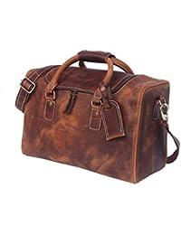 Zakara Full Grain 100% Genuine Hunter Brown Leather Weekender Duffle Bag, Leather Dufful Bag, Mens Leather Travel...