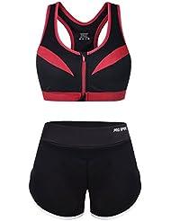 Vbiger Deportes Sostén Yoga Pantalones Deporte Trajes Gimnasio Conjuntos Respirable Sostén y Pantalones Cortos Para Mujer (Púrpura, L)